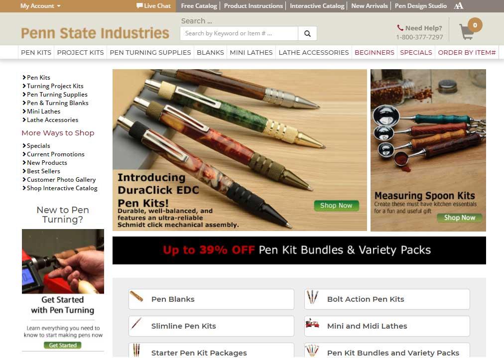 Penn State Industries Miva Merchant E-commerce Homepage, Website by NetBlazon